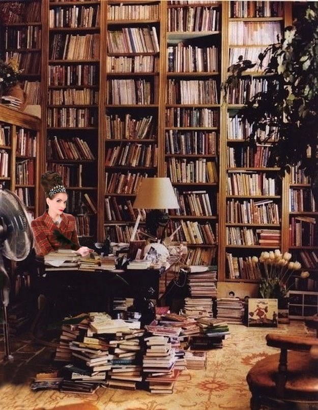 Tyne O'Connell at work in her library in Mayfair