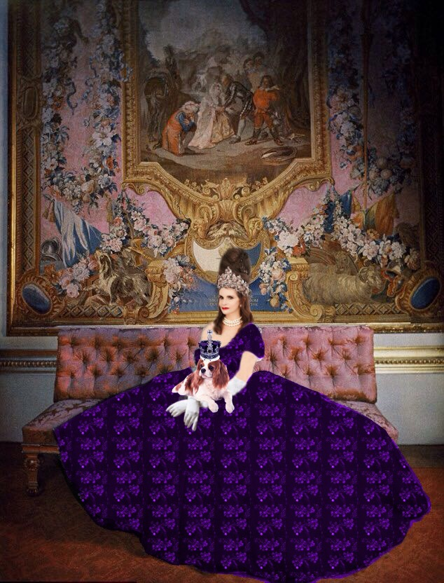 Tyne O'Connell in purple ballgown off shoulder white gloves and spaniel