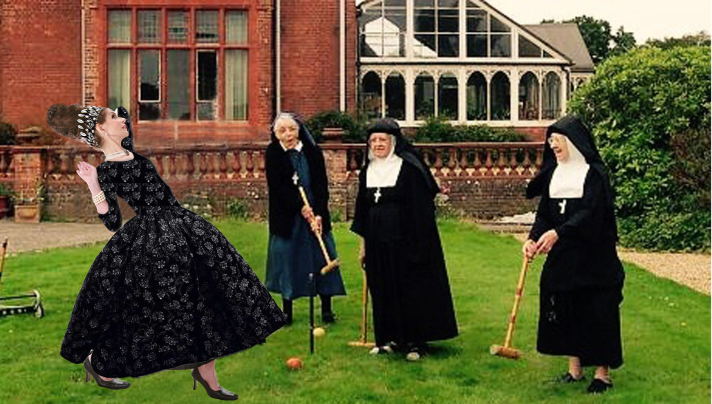 Tyne O'Connell with nuns