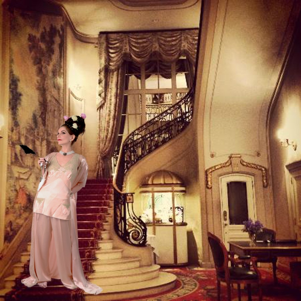 Tyne in Pink Gown on Stairs