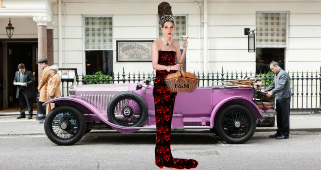 Pink Rolls Royce Tyne OConnell Mayfair red ballgown